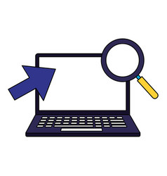 laptop computer magnifying glass and arrow vector image