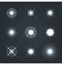 Light Glow Flare Stars Effect Set 2 vector image