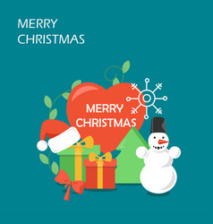 merry christmas flat style design vector image