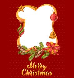 merry christmas frame design vector image
