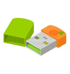 Mini flash drive icon isometric style vector