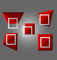 Modern origami geometric red 3d frames on grey vector