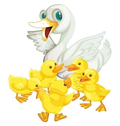 Mother duck and five ducklings vector