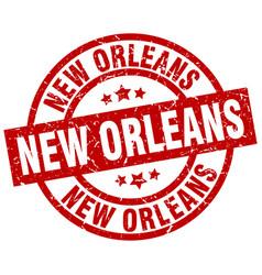 New orleans red round grunge stamp vector