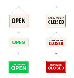open come in sorry we are closed hanging signs vector image