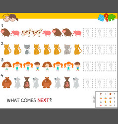 pattern game with kid and animal characters vector image