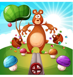 Poor bear is shot with a gun cartoon vector