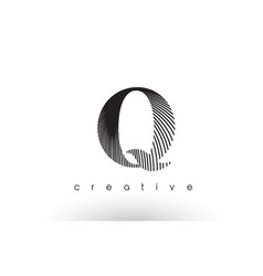 q logo design with multiple lines and black and vector image