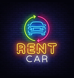 rent car neon emblem design template trade vector image