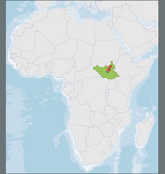 Republic south sudan location on africa map vector