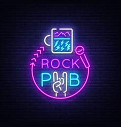 rock pub logo neon rock bar neon sign vector image