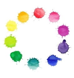 Round frame made of watercolor blobs vector