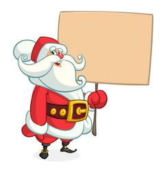 santa claus character holding a sign cartoon vector image