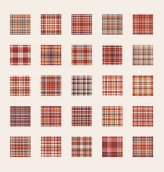 seamless pattern set check plaid fabric texture vector image
