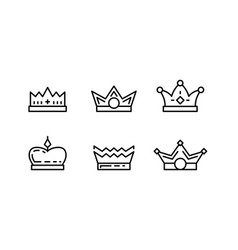 set crown line art icons vector image