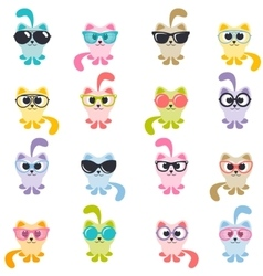 set of colorful cats with sunglasses vector image