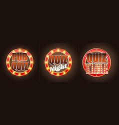 set quiz game retro banners labels vector image