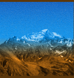 Snow high mountains landscape painting effect vector