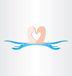 Swans in water love symbol vector