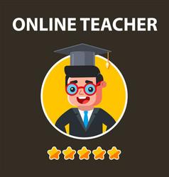 The best online teacher with five stars vector