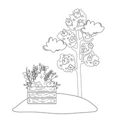 tree plant with flowers garden in wooden pot vector image