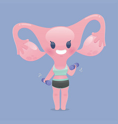 Uterus in sportswear exercises lifting a dumbbell vector