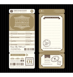 Vintage style Boarding Pass Ticket Wedding card vector