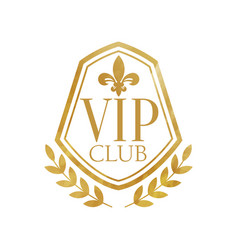vip club luxury golden badge for resort boutique vector image