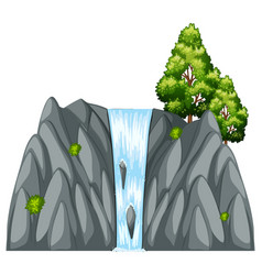 Waterfall scene with tree on the rock vector