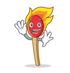Waving match stick character cartoon vector