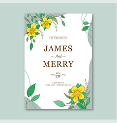 wedding invitation template with flower vector image