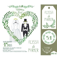 Wedding invitationGreen branches heart clothes vector