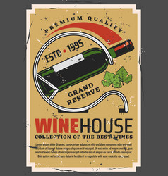 Winehouse retro poster with wine bottle on stand vector