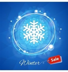 Winter Sale Banner with Snowflake on Blue vector