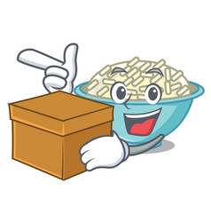with box rice bowl character cartoon vector image