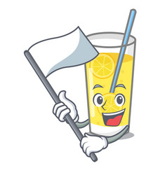 With flag lemonade mascot cartoon style vector