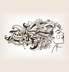 woman with art hair engraving vector image