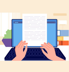 writer writing typed content journalist write vector image