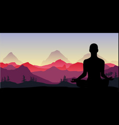 Yoga meditation in mountains relax vector