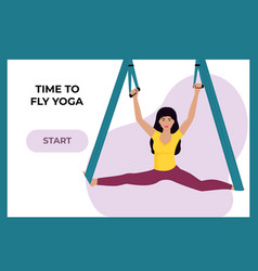 young girl doing fly yoga in a hammock woman vector image