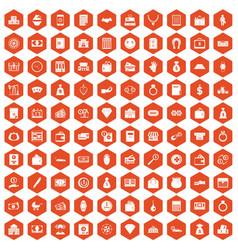 100 deposit icons hexagon orange vector