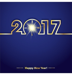 2017 Happy New Year with creative midnight clock vector image vector image