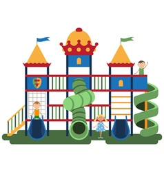 Children on kids playground with related items vector
