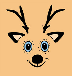 cute funny deer head cartoon vector image