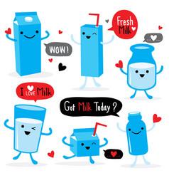 milk package cartoon character cute vector image