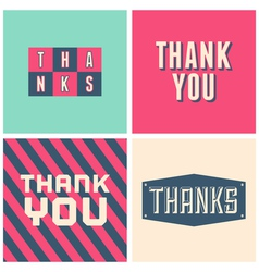retro design thank you greeting cards in pink vector image vector image