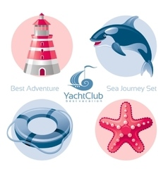 Sea travel icon set with seafaring icons vector image