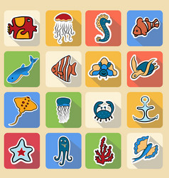 set of colored icons inhabitants of the vector image