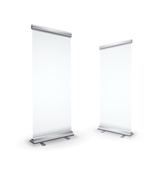 Two blank realistic roll-up banners isolated on vector image
