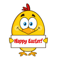 yellow chick character holding a happy easter sign vector image vector image